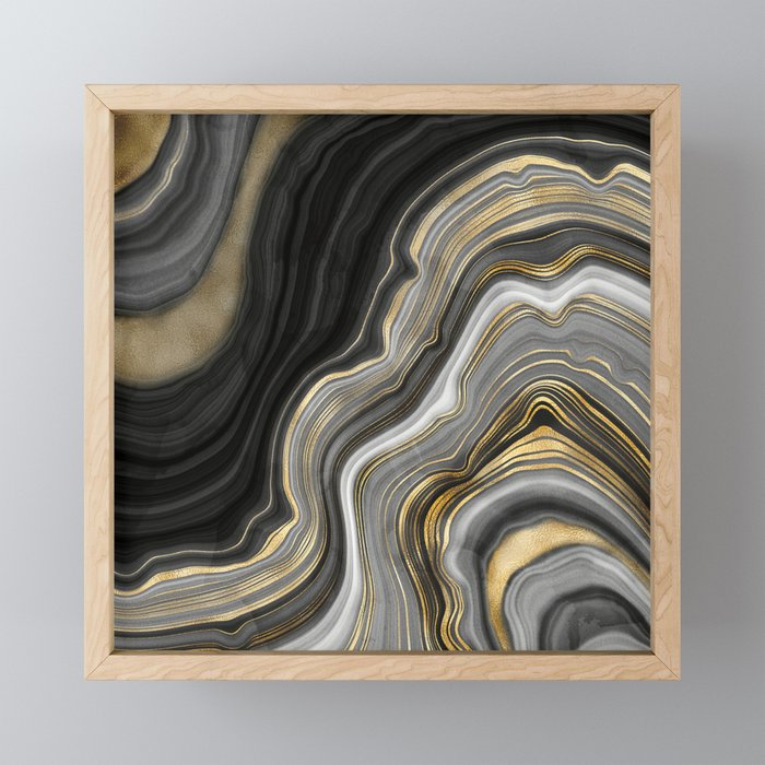 Gold And Black Agate Stone Marble Geode Modern Art