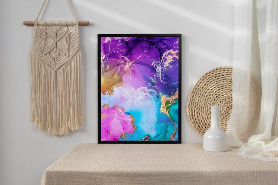 Purple, Blue And Gold Metallic Abstract Watercolor Art Print
